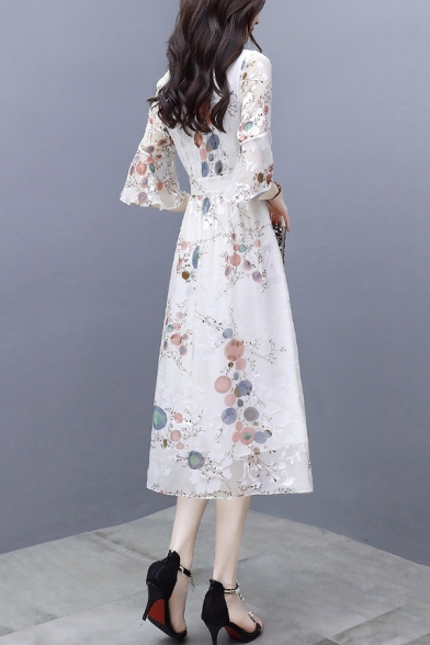 Holiday Floral Printed Half Sleeve Chiffon White Maxi A-Line Dress