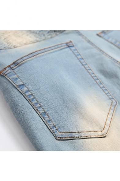 Men's Cool Retro Washed Zip-Embellished Pleated Light Blue Moto Denim Shorts