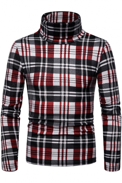 Mens Fashion Plaid Printed Warm Basic High Neck Long Sleeve Fitted Sweater