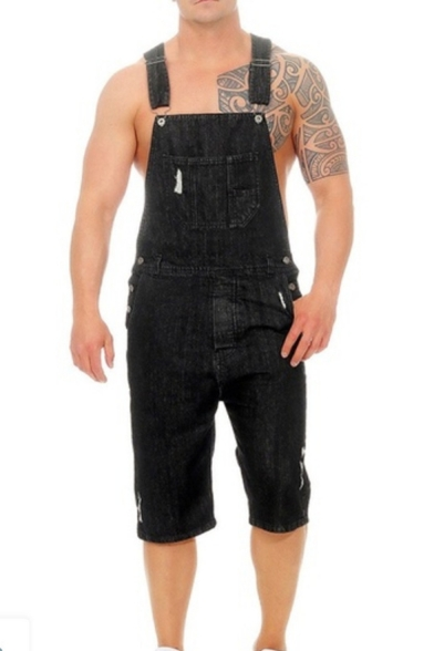 Mens New Stylish Simple Plain Vintage Ripped Slim Fit Casual Denim Overall Shorts