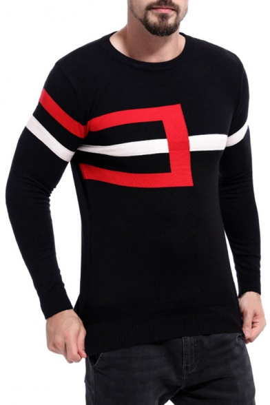 Mens Popular Stripe Colorblock Long Sleeve Crew Neck Slim Fit Sweater