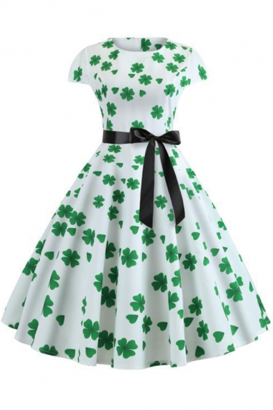 New Arrival Clover Printed Round Neck Bow-Tied Waist White Midi Fit and Flared Dress