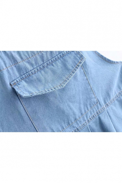 New Fashion Solid Big Pocket Patched Overall Light Blue Mini Pleated Denim Dress