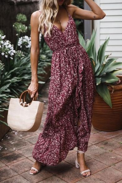 New Stylish Floral Printed Tied Waist Burgundy Maxi Slip Dress