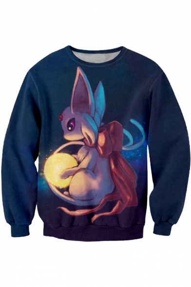 3D Comic Character Pattern Round Neck Long Sleeve Casual Blue Sweatshirt