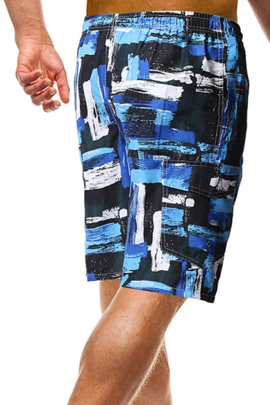 Quick-Dry Blue Casual Pocket Colorblocked Relaxed Drawcord Beach Shorts for Men