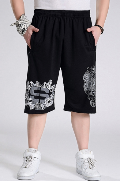 Summer Popular Letter Floral Printed Elastic Waist Guys Relaxed Running Active Shorts