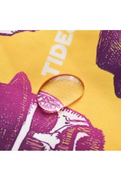 Trendy Figure Letter Printed Drawstring Waist Quick Dry Yellow Unisex Loose Surfing Beach Swim Trunks