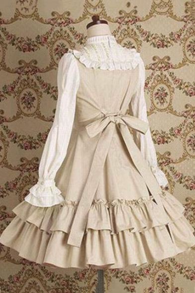 Vintage Middle Ages French Maid Cosplay Costume Long Sleeve Flared Dress