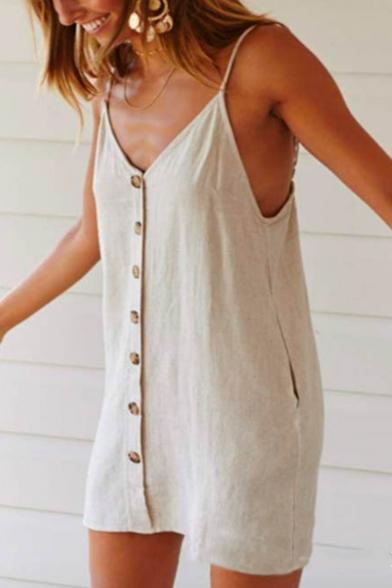 Womens Summer Comfortable Linen Button Down Beige Mini Slip Dress