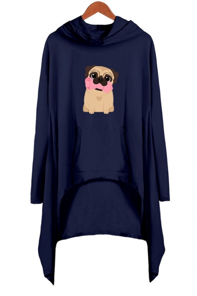 Cartoon Cute Pug Dog Printed Long Sleeve Hooded Shift Asymmetrical Dress