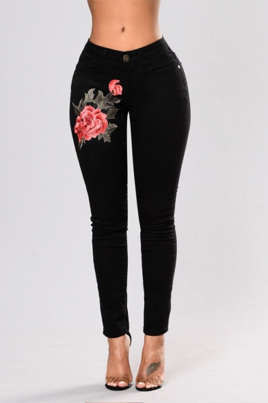 Chic Floral Embroidery Women's Stretch Slim Fit Black Jeans