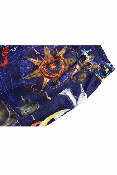 Creative Unique Sailing Boat Printed Guys Quick Drying Blue Beach Board Shorts