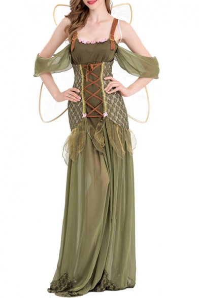 Halloween Green Forest Princess Cosplay Costume Cold Shoulder Lace-Up Front Maxi Dress for Women