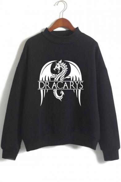 Hot Trendy Dragon Dracarys Pattern Mock Neck Long Sleeve Pullover Sweatshirt