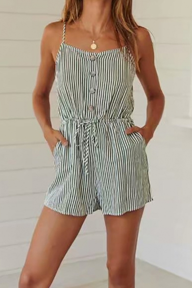Light Green Vertical Striped Printed Button Front Drawstring Waist Casual Strap Romper for Women