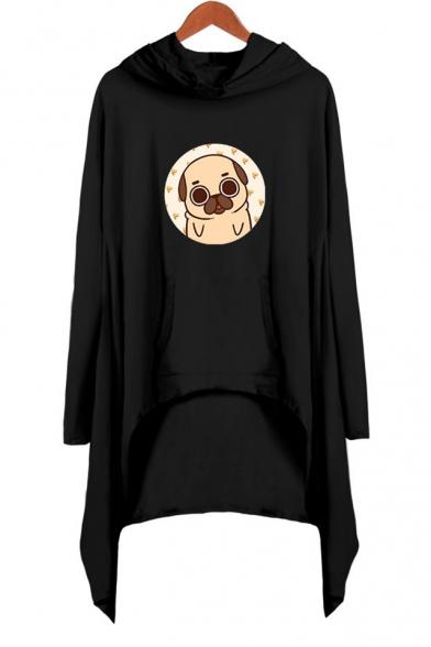 Lovely Cartoon Pug Dog Printed Long Sleeve Hooded Shift Asymmetrical Dress