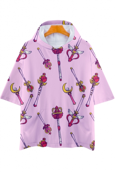 Sailor Moon Comic Magic Wand Printed Short Sleeve Pink Hooded Unisex T-Shirt