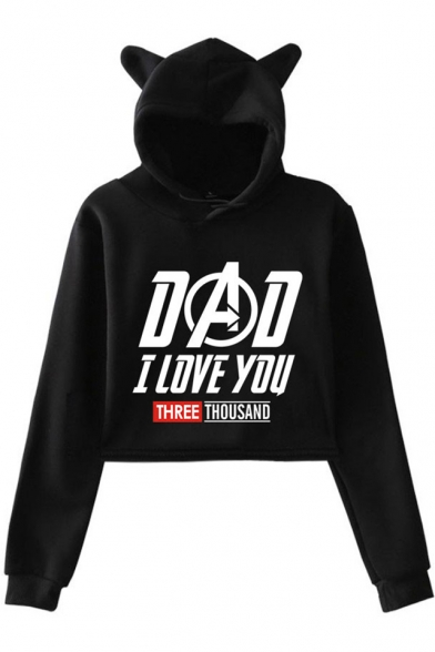 Stylish Letter DAD I LOVE YOU THREE THOUSAND Cute Cat Ear Design Pullover Cropped Hoodie