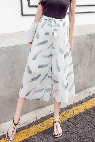 Summer Fashion Allover Feather Printed Tied Waist Capri Pants White Chiffon Wide-Leg Pants for Girls