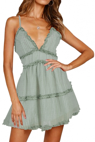 Summer Hot Fashion Plaid Floral Printed Ruffled Trim V-Neck Mini A-Line Slip Dress