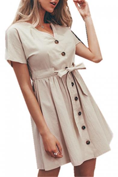 Summer Simple Plain V-Neck Short Sleeve Button Down Bow-Tied Waist Mini A-Line Dress