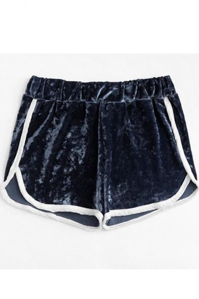 Trendy Contrast Trim Elastic Waist Chic Velvet Dolphin Shorts, Black;burgundy;pink;dark blue, LM520468