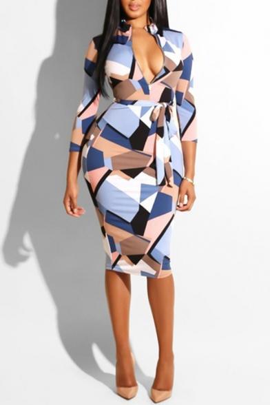 Trendy Leopard Geometric Check Print Plunge Neck Long Sleeve Tie Waist Zip Detail Midi Bodycon Dress