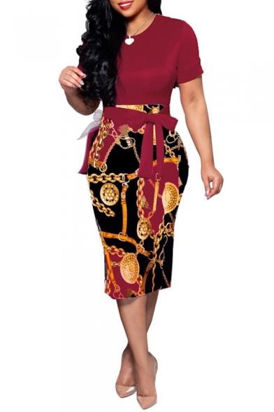 Women' Chain Printed Color Block Short Sleeve Round Neck Tie Waist Midi Bodycon Dress