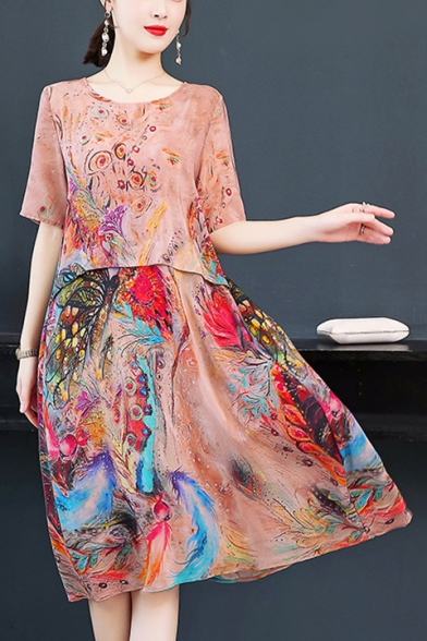 Women's Elegant Round Neck Half Sleeve Floral Pattern Midi Silk Beach Dress