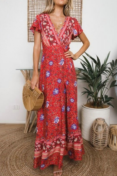 Baycheer / Women's Fashion Floral Printed V-Neck Short Sleeve Sexy Split Front Maxi Beach Dress