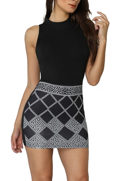 Women's Hot Fashion Geometric Print Round Neck Sleeveless Rhinestone Embellished Mini Black Tank Dress