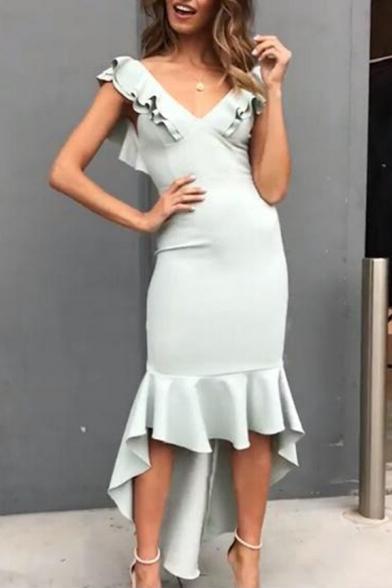 Women's Hot Fashion Sexy V-Neck Ruffled High Low Hem Plain Bodycon Fishtail Evening Dress