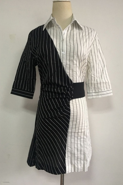Women's Half Sleeve Collared Color Block Striped Printed Mini Shirt Black And White Dress