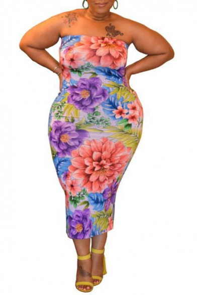 Women's Multicolor Floral Print Off the Shoulder Sleeveless Oversized Maxi Bodycon Dress