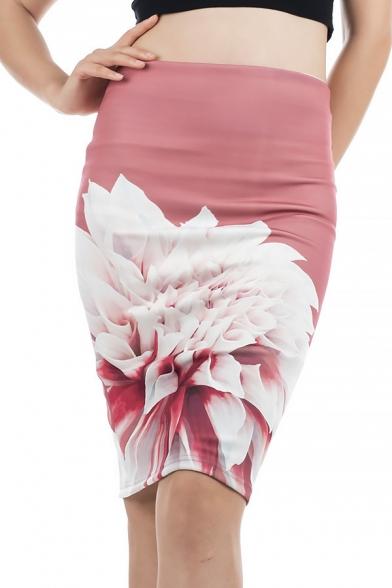 Купить со скидкой Women's New Fancy Floral Printed Split Back Pink Knee Length Bodycon Skirt