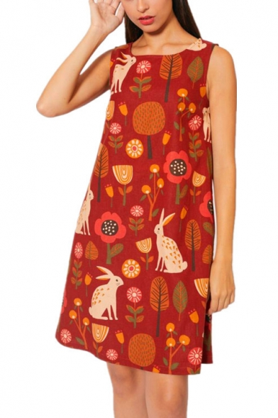Women's New Trendy Cartoon Print Round Neck Sleeveless Mini Tank Linen Dress