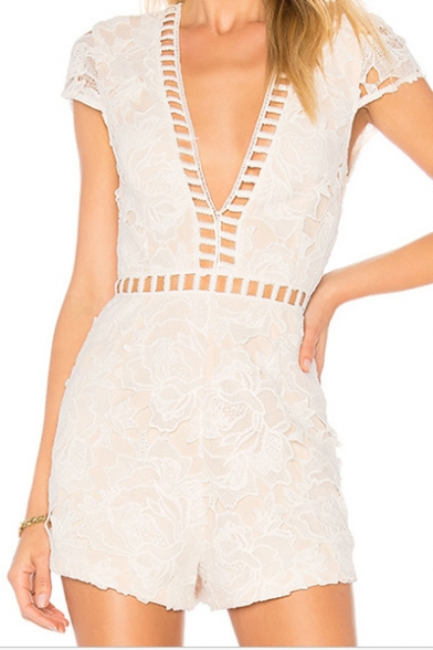 Women's New Trendy White Hollow Out Lace Sexy V-Neck Slim Fit Romper Playsuit