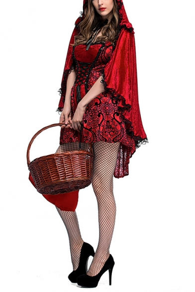 Womens Halloween Cosplay Costume Spaghetti Straps Lace-Up Red Mini Cami Dress