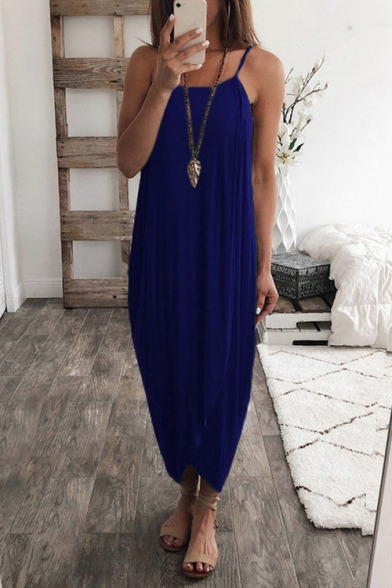Womens Hot Fashion Simple Solid Color Sleeveless Maxi Casual Asymmetrical Cami Dress