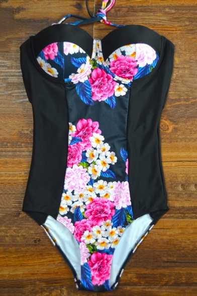 Womens New Trendy Vintage Halter Neck Floral Print Black One Piece Swimsuit Swimwear
