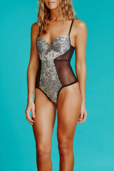 Womens Sexy Sheer Mesh Panel Fashion Snake Scale One Piece Swimsuit