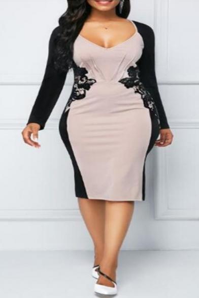 Womens' Trendy V-Neck Long Sleeve Lace Patchwork Back Zip Slit Midi Bodycon Dress