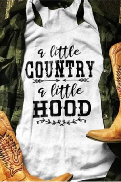 A Little Country A Little Hood Summer White Tank Top