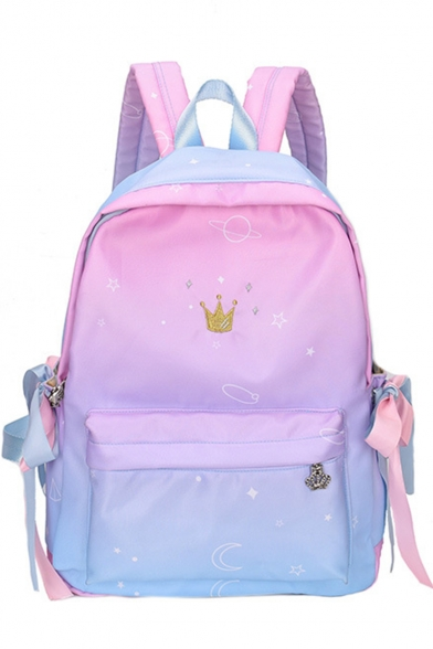 Cute Crown Embroidery Ombre Printed Bow Tie Detail School Bag Backpack 28*11*39 CM