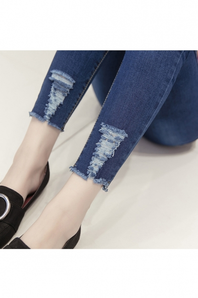 Fashion Chic Floral Embroidery Mesh Panel Dark Blue Slim Fit Jeans for Women