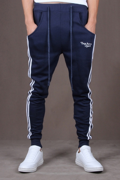 Guys Simple Letter TOP HERE SPORT Fashion Stripe Side Casual Cotton Sweatpants