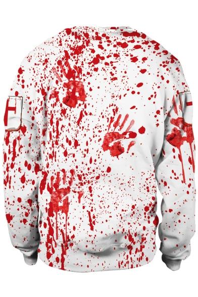 Horror Blood Printed Cosplay Costume Round Neck White Pullover Sweatshirt