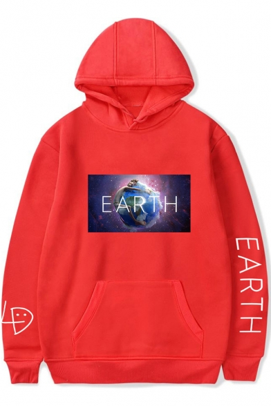 Hot Fashion Earth Graphic Printed Long Sleeve Loose Fit Hoodie