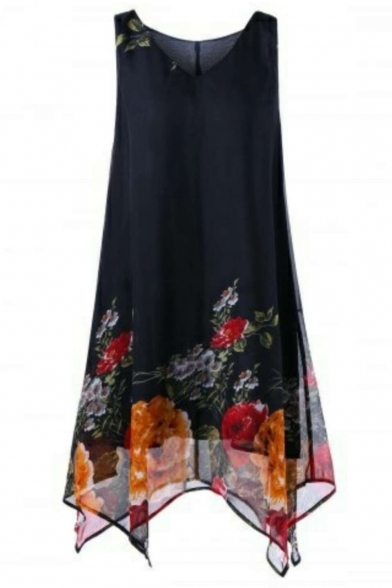 Hot Sale Floral Print V-Neck Sleeveless Midi Asymmetric Hem Chiffon Dress For Women
